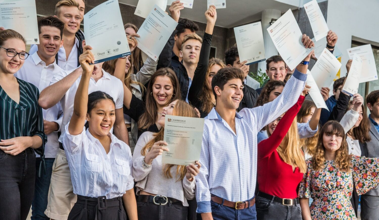 Sixth Form Students celebrating exam results