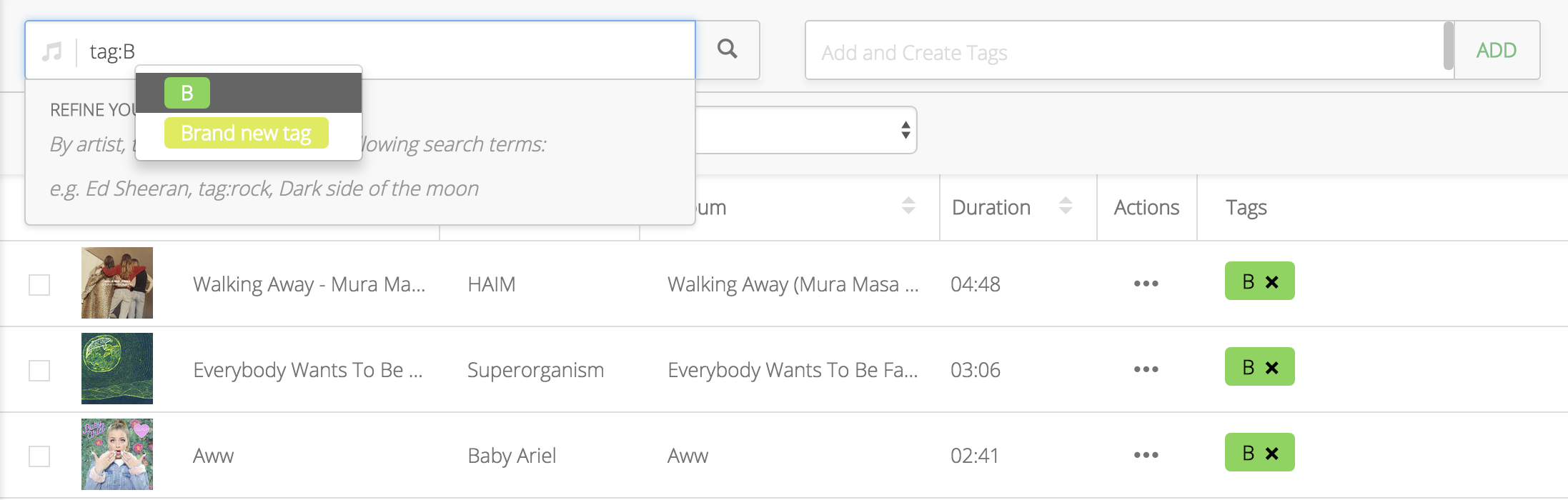 Searching Tagged Tracks
