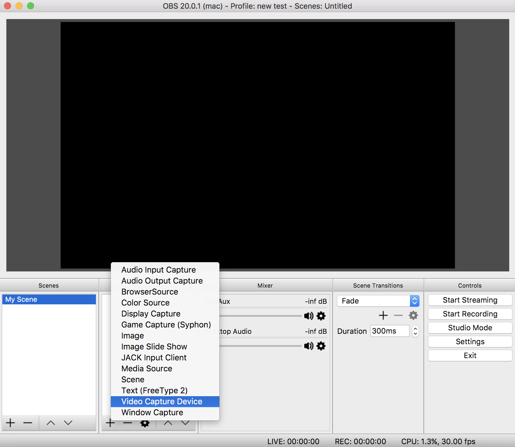 Video Capture Device OBS