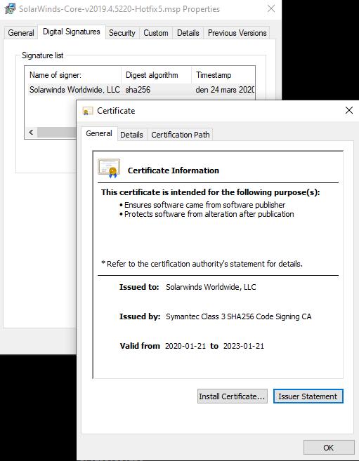 SUNBURST backdoor update package signed by Solarwinds