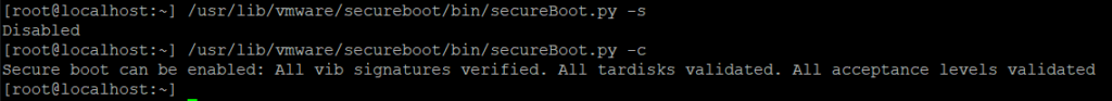 ESXi secureboot.py check showing VIB signatures verified and acceptance levels validated