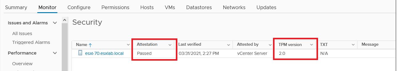 vCenter Server attestation status of ESXi hosts using TPM 2.0